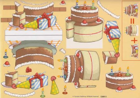 Birthday Cake Stand Up 3d Decoupage Sheet